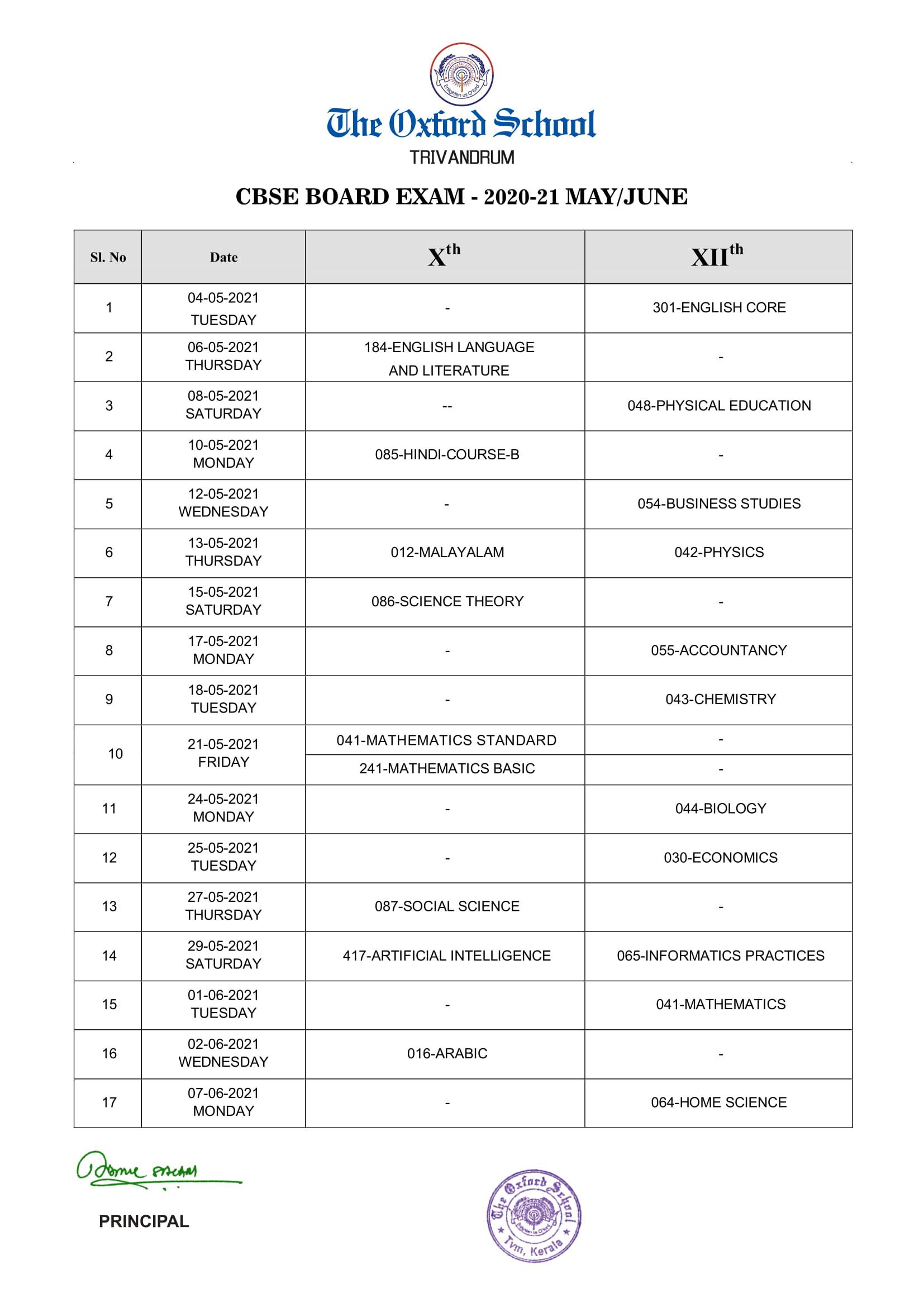CBSE Board Exam PT 4 -Timetable 2020-21